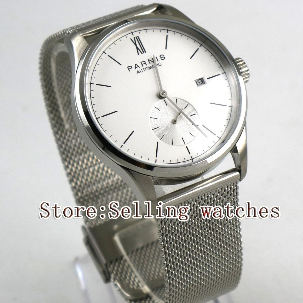 лучшая цена 42mm parnis white dial Steel strap date ST 1731 automatic mens watch