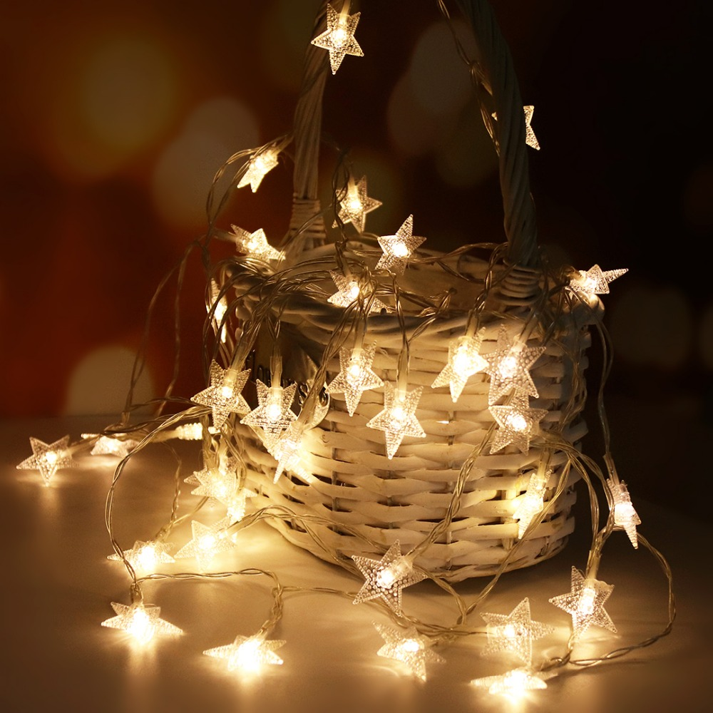 Twinkle Star LED String Light Fairy Garland Holiday Decoration Lights 5M 50 Led For Christmas Ramadan Wedding Lantern Battery JQ