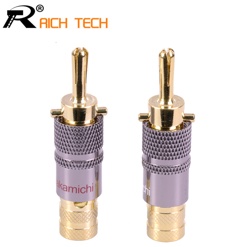 2pcs/lot Luxury Copper 24K Gold Plated Banana Plug Audio Connector Male Adapter Speaker Banana Binding Post Terminal Red&white