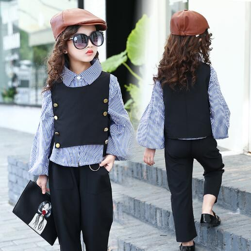 Girls clothing sets Autumn Children Clothes Outfits fashion Long Sleeve striped shirt + Vest + Pants 3Pcs/suit kids tracksuit autumn winter girls children sets clothing long sleeve o neck pullover cartoon dog sweater short pant suit sets for cute girls