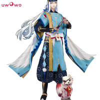 Abeno Seimei Cosplay Onmyoji Game Satin Kimono Uwowo White Blue Costume Full Set
