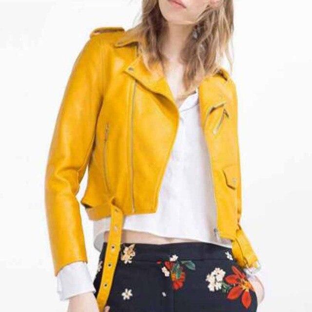 purchase cheap 602c8 90d5d US $36.66 |Nuovo stile di europen bomber orange giacca di pelle donna  shorts donna telai jaqueta couro giacche di pelle casuale 4 colori in Nuovo  ...
