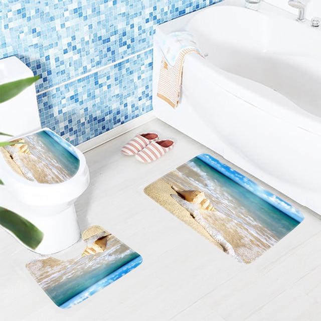 3 stücke Badezimmer Mat Set Strand Wunderbare auf Der Ozean Wellen ...