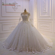 2019 New collection sparkling wedding dress ball gown real work high quality