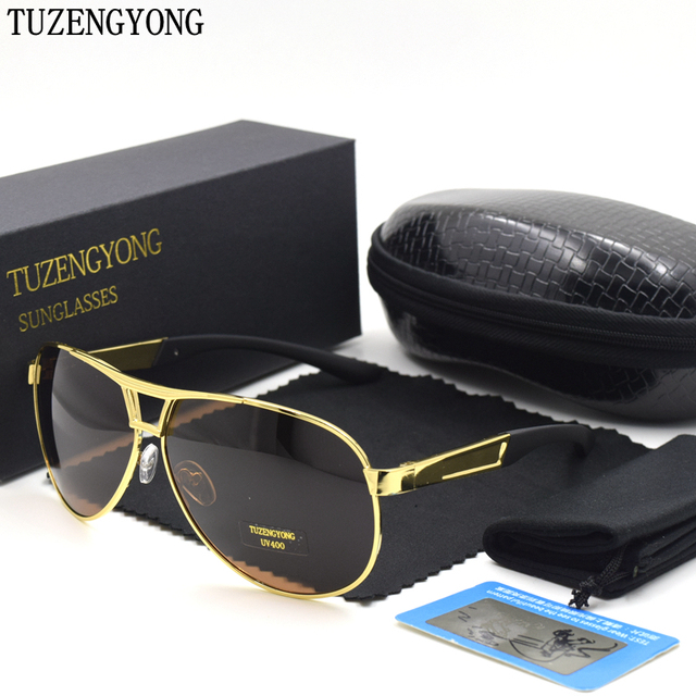 80c9411f081 TUZENGYONG Men s brand designer polarized sunglasses Coating Mirror Sun  Glasses oculos Male Eyewear Accessories For Men
