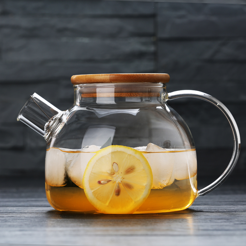 1600ml transparent glass teapot home explosion-proof heat-resistant glass kettle with filter high-capacity cold-water bottle