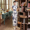 Classic Chinese Women's Silk Cheongsam Traditional Style Long Qipao Dress Mujer Vestido Clothing Size S M L XL XXL CZ0002