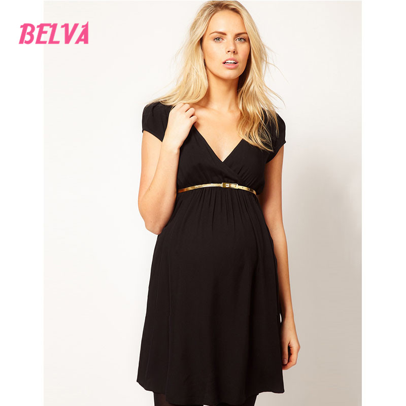 Belva Women Pregnant Short Dress With Gold Sashes Formal Maternity