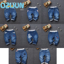 Retail Boys Girls Jeans 2018 Denim pants Children Casual kids elastic waist straight fit jeans Full Length Trousers 8 style 2-7Y(China)