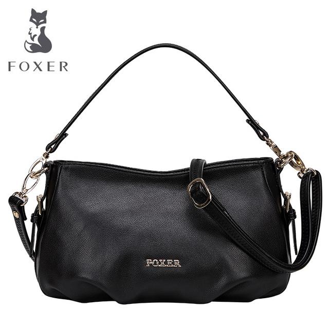 Foxer marca 2016 novas mulheres moda bolsa do couro genuíno pequena fêmea ombro & crossbody & mensageiro três-use sacos