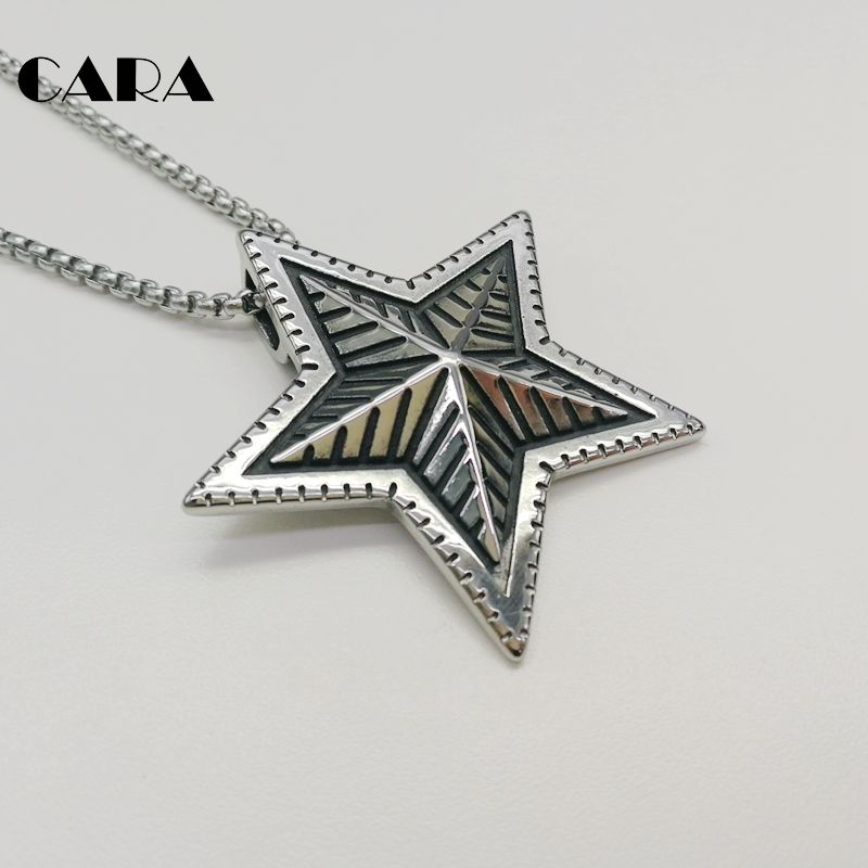2019 New Arrival Men 39 s punk vintage fashion necklace 5 point antique silver color star pendant neckace for men CAGF0062 in Pendant Necklaces from Jewelry amp Accessories