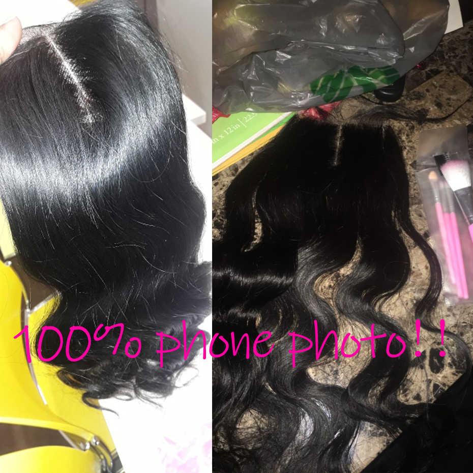5 шт./лот, 5x5 дюймов, волнистые кружевные накладки, свободные/Средние/три части, бразильские человеческие волосы, натуральные черные волосы