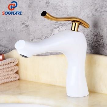 SOGNARE Wash Basin Faucet Gold Brass Taps Single Handle Bathroom Basin Mixer Sink Tap White Faucet White Mixer Tap Water Crane