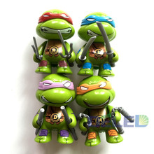 Hot Sale 4Pcs/Set Q Version 7CM Teenage Mutant Ninja Turtles Models TMNT With Weapons Auto Car Action Figures Dolls Decor
