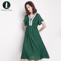 Today Plus 2017 Fashion Women Dresses Summer V Neck Short Sleeve Loose Solid Lace Green White