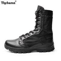 Thebams из брендовой натуральной кожи Мужские ботинки Одежда высшего качества армейские ботинки дышащий прочный Для мужчин черный армии резин