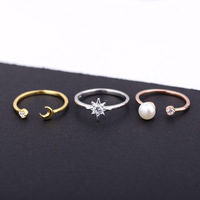 L P Adjustable Wedding Ring 100 925 Sterling Silver Star Moon Pearl 3 Pieces Ringsfine Jewelry