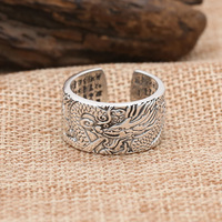 FNJ Dragon Ring 925 Silver Jewelry New Fashion Punk S925 Sterling Silver Rings for Men Adjustable Size 7.5 10 bague