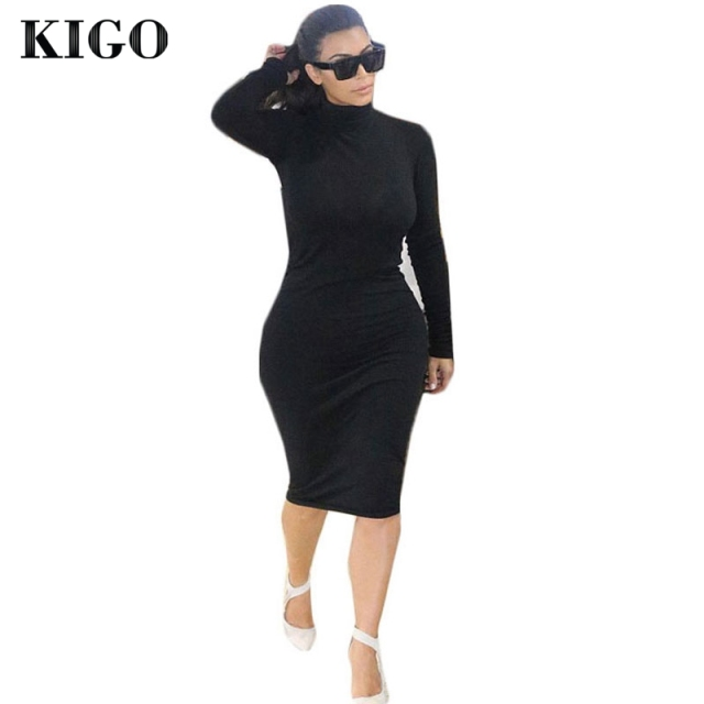 7fcf7953a75 KIGO Kim Kardashian Dress Autumn Black Turtleneck Solid Vestidos Femininos  Party Dress Sexy Long Sleeve Bodycon Bandage Dress