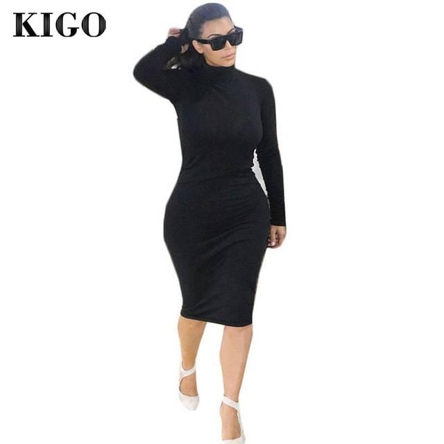 KIGO Kim Kardashian Dress Autumn Black Turtleneck Solid Vestidos Femininos Party  Dress Sexy Long Sleeve Bodycon bdd76722134a