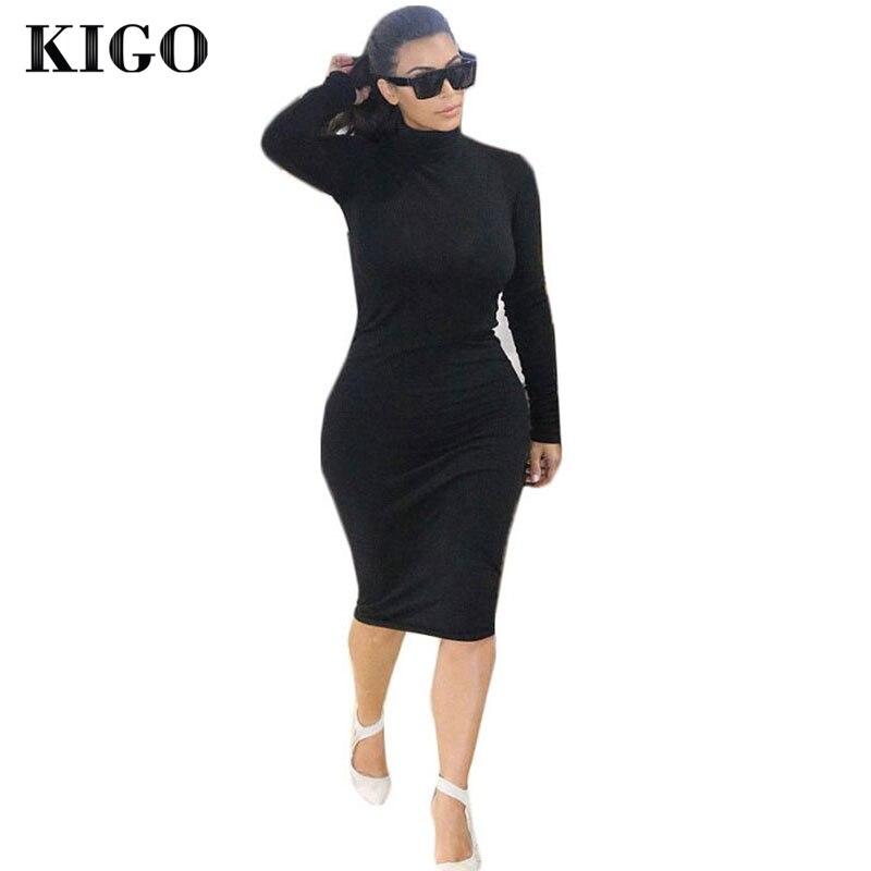 KIGO Kim Kardashian Dress Autumn Black Turtleneck Solid Vestidos Femininos Party Dress Sexy Long Sleeve Bodycon Bandage Dress