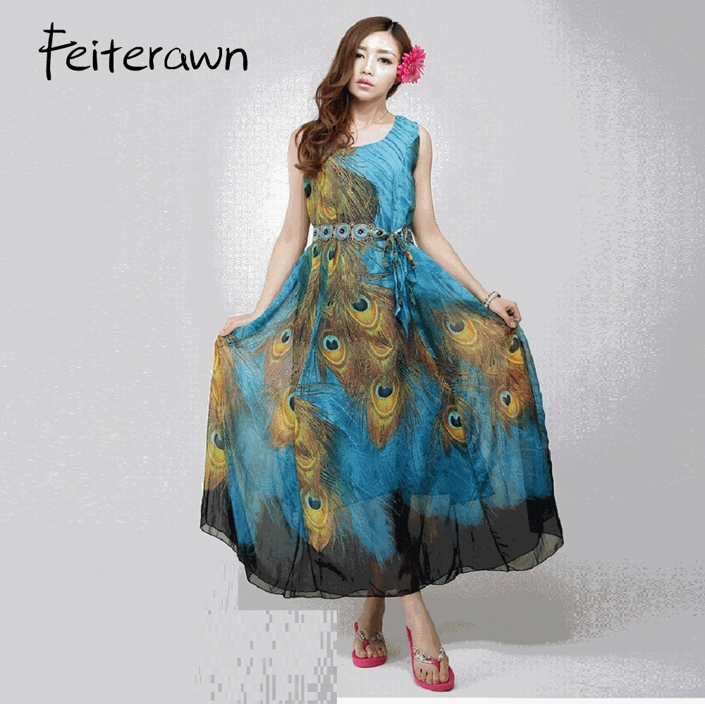 Feiterawn 2018 Summer Fashion Casual Beach Chiffon Dress with Sash Sleeveless Peacock Feather Printing Pleated Tank Long Dress