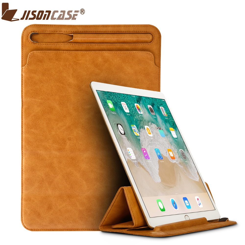 Jisoncase Luxury Leather Sleeve Case for iPad Pro 10.5 2017 Retro Pouch Bag Folding Cover with Old Version Pen Slot New Design jisoncase genuine leather sleeve case for apple pencil holder cover pouch anti knock fixable pen bag for ipad pro 9 7 10 5 12 9