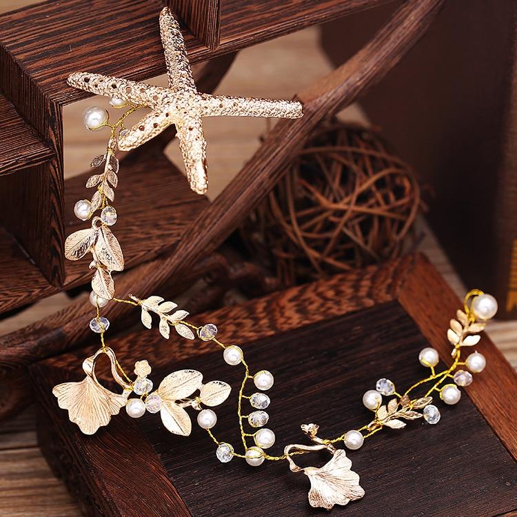 Starfish Tiara Headband Head Chain Pearl Jewelry Hair Accessories Bridal Headpiece Bandeau Cheveux Femme Bijoux De Tete WIGO0766