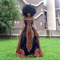 2016 summer fashion Africa sleeveless Condole belt maxi long dress for women dashiki printing ankle-length plus size S-4XL