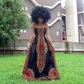 2016 verão moda África sem mangas cinto Condoer dashiki impressão tornozelo-comprimento maxi vestido longo para as mulheres plus size S-4XL