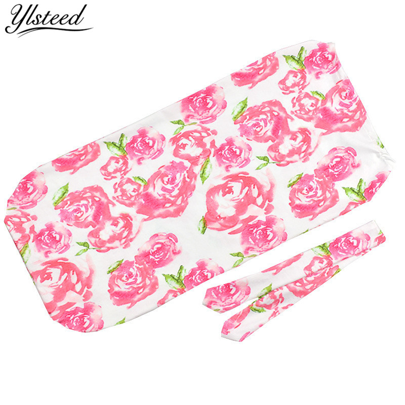 2Pcs/Set Newborn Baby Swaddle Blanket Baby Floral Muslin Wrap Headband Cocoon Sleeping Bag with Matching Knotted Bow Headband 11 21 choose your own color infant headband baby headband newborn headband bow headband 1pcs lot