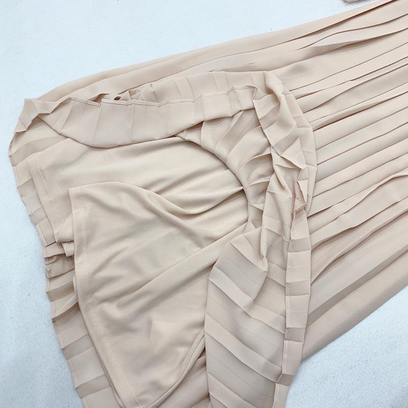 Image 2 - QZ05 New Spanish Design O Neck Lace Patchwork Pleated Fairy Dress Women Solid Color Sweet VestidosDresses   -