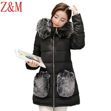 Feather padded women long section padded winter new Korean version of Slim waist coat jacket collar Nagymaros