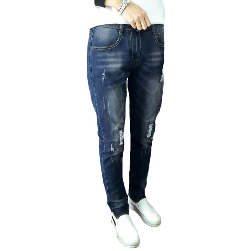 ФОТО Elegdream Spring Summer Women Jeans Female Distressed Casual Denim Pencil Pants Ripped Vintage Skinny Trousers Plus Size 5XL