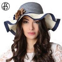 FS сезон: весна–лето дамы соломенная шляпа с широкими полями сине-белые флоппи пляж Шляпы широкополые для женщин для Для женщин вводной paille ...