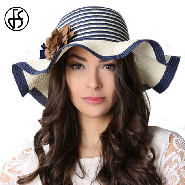 FS Spring Summer Ladies Wide Brim Straw Hat Blue White Floppy Beach Sun Hats  For Women Chapeau Paille Femme With Big Heads 63590c5fd45