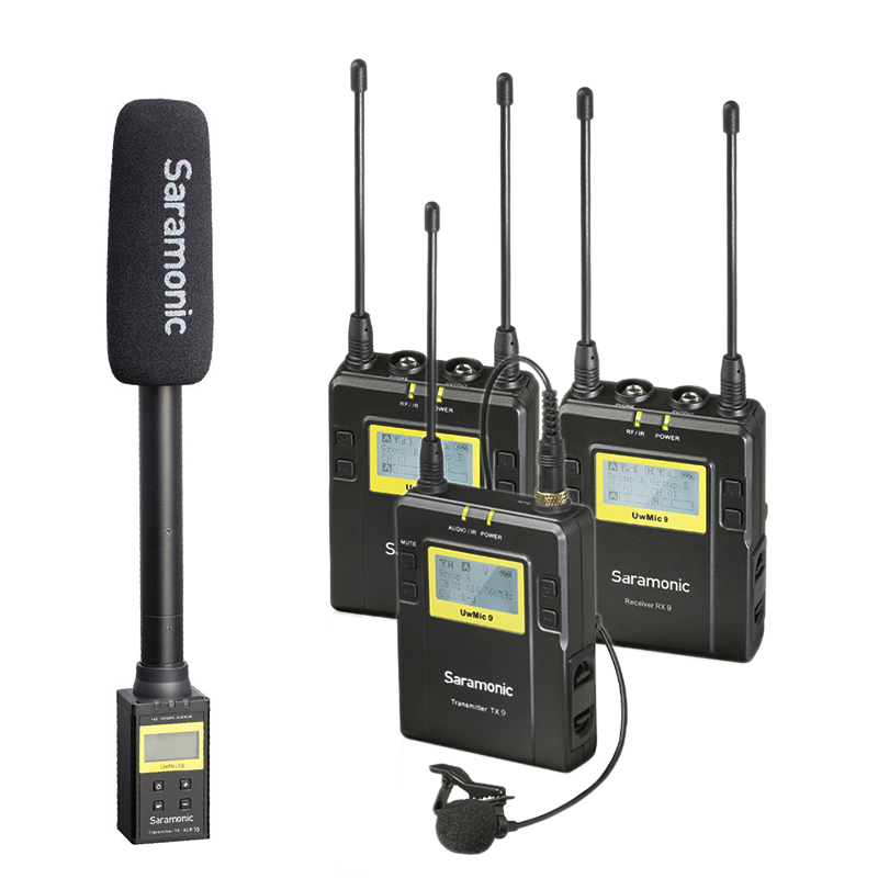 Saramonic UWMIC9 Broadcast UHF Camera Wireless Lavalier Microphone System Transmitters +One Receiver for DSLR Camcorder image
