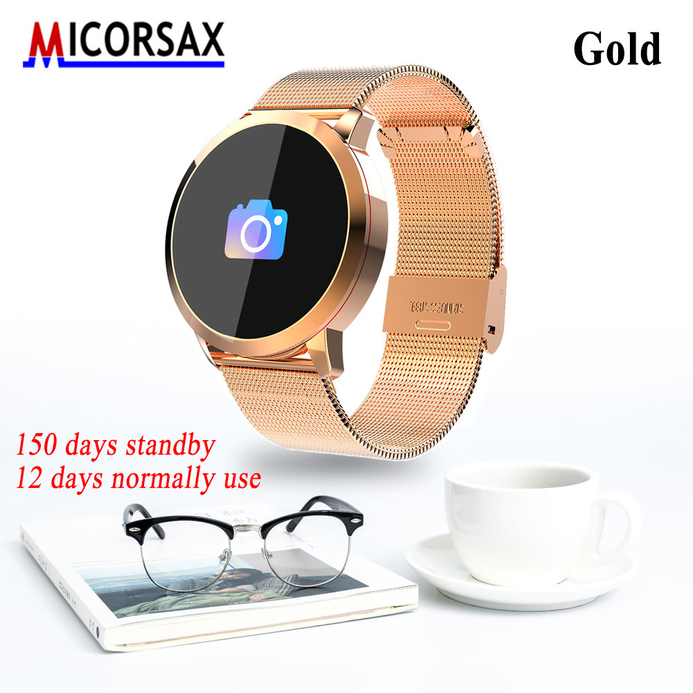 2018New Colorful Screen Smart Watches Metal Leather Wristbands Real-time Heart Rate Smart Bracelet Message Reminder Fitness Band