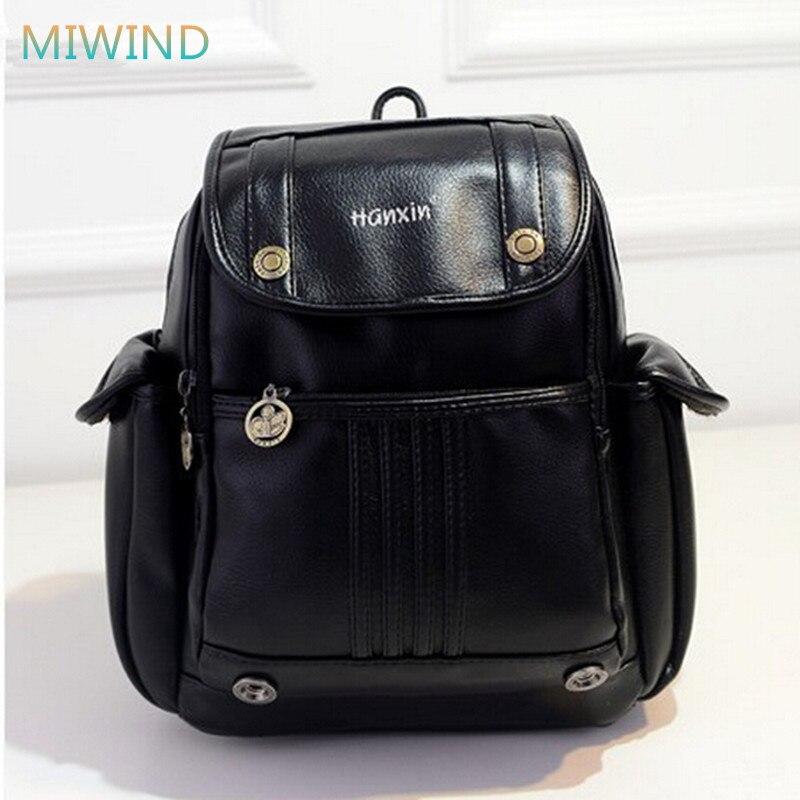 Korean Fashion 2016 Women Bag Vintage Preppy Style Women Backpack Pu Leather Mochila Feminina Girls Small School Bags PU35 стоимость
