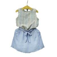 2017 Summer Korean Baby Girls Clothing Set Children Sleeveless Shirt Bow Shorts Suit 2pcs Kids Striped