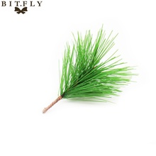 2017 new 10pcs Artificial plant Pine Needles Xmas Tree Garland Wreath Decoration diy Mixed Branchs Christmas Ornament Supplies(China)