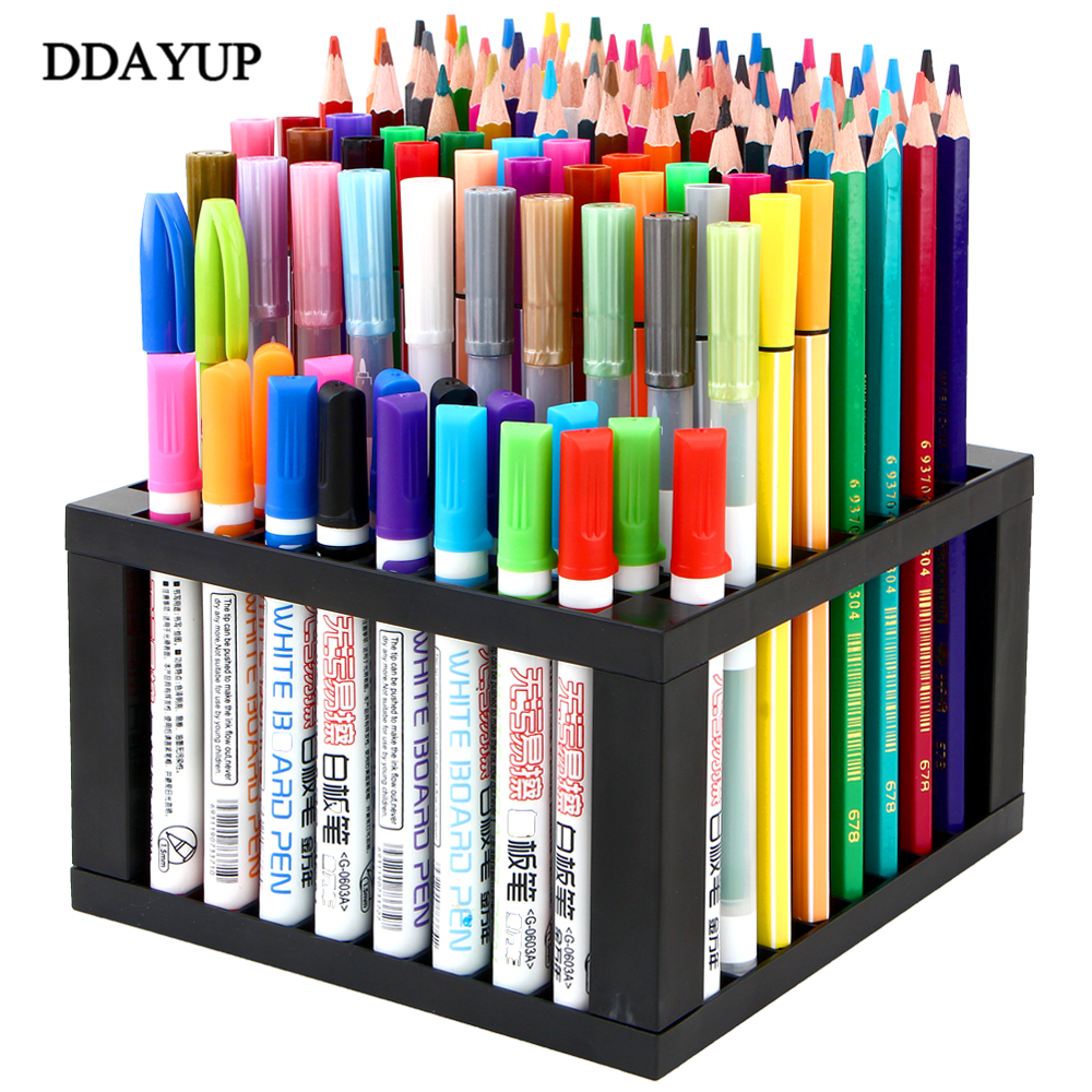 Creative Plastic Pen Holders 96 Holes Storage Box Pencil Case Desktop Organizer Accessories Office Stationery Supply cute cat pen holders multifunctional storage wooden cosmetic storage box memo box penholder gift office organizer school supplie