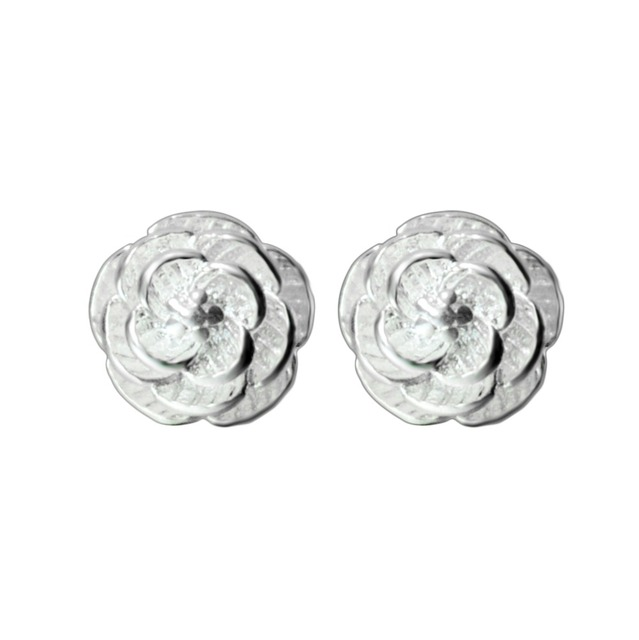 Qiming 925 Sterling Silver Jewelry Flower Earrings For Women Penntes Brincos Tiny Rose Stud