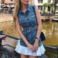 Simplee Elegant fashion denim dresses women Sleeveless pleated patchwork vest dresses Turn down collar jeans dress women 2018