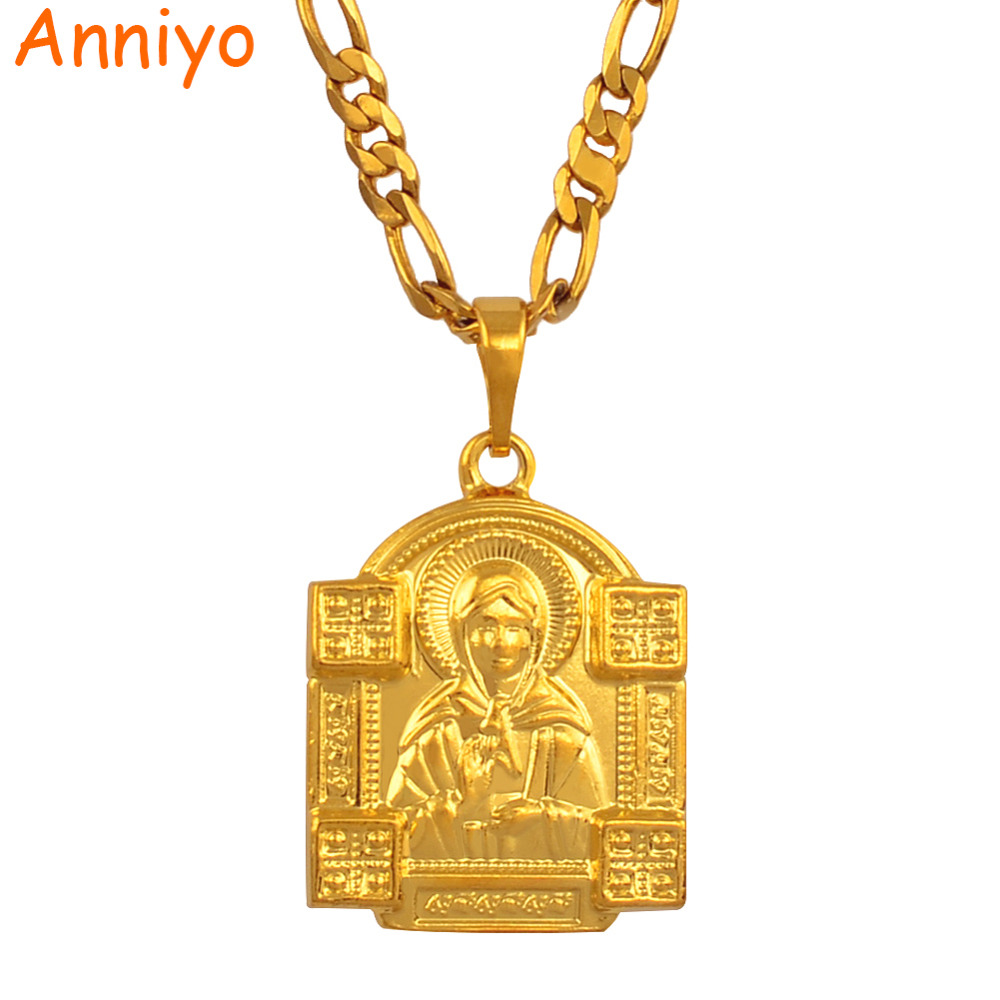 Anniyo Blessed Matrona of Moscow Pendant Necklace Gold Color Jewelry Catholicism/Orthodox Church Virgin Mary Necklace #038804 все цены