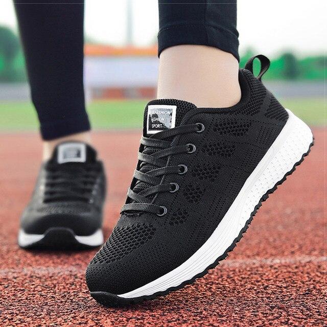 Femmes chaussures 2019 blanc baskets pour femmes respirant marche vulcanisé chaussures Sport Flyknit chaussures décontractées plat gymnastique Tenis Feminino