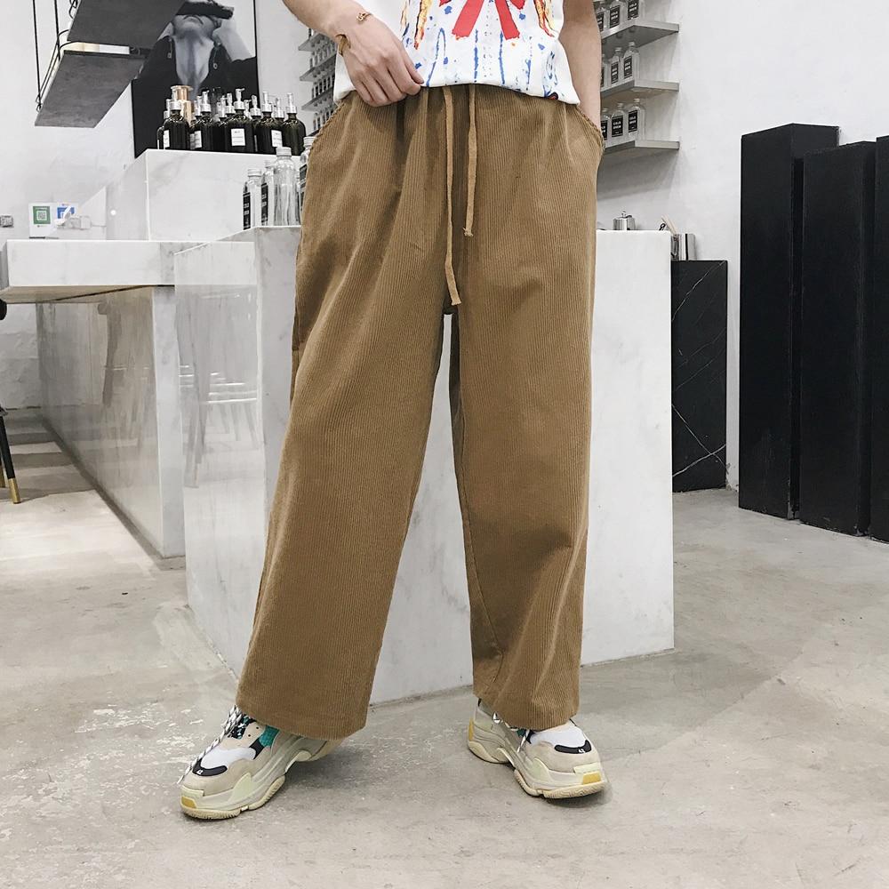 Ordelijk Mannen Corduroy Casual Wijde Pijpen Pant Mannelijke Vrouwen High Street Fashion Hiphop Losse Harembroek