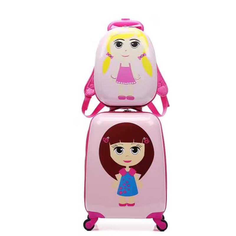 Letrend Cute Girls Rolling Luggage Set Spinner Kids Cartton Backpack Trolley Children Suitcase Wheels 18 inch Carry On Trunk