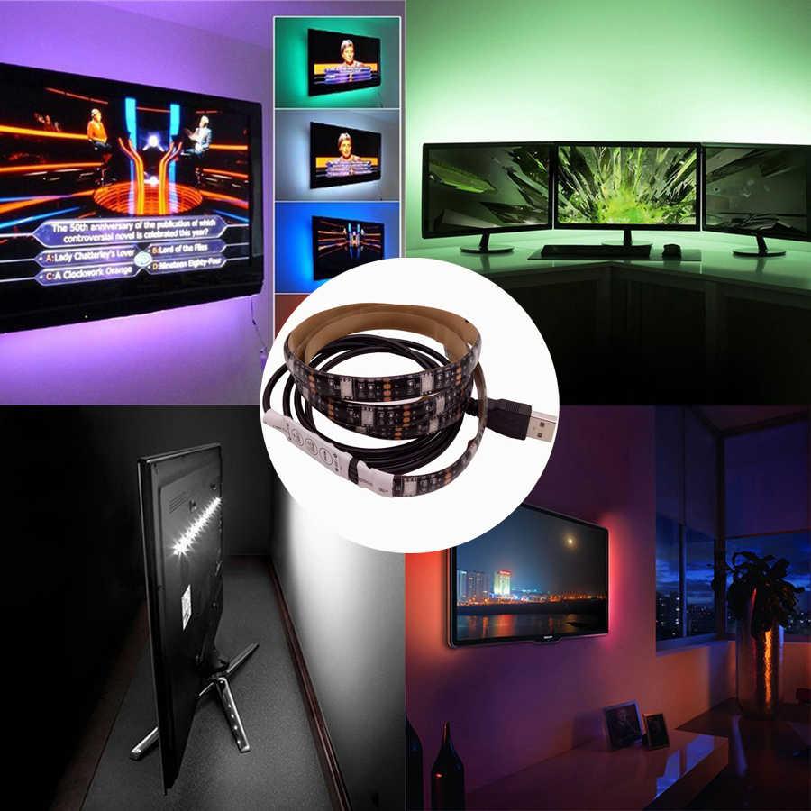 USB Светодиодная лента 5050 RGB съемный светодиодный ТВ фоновое освещение 50 см 1 м 2 м 3 м 4 м 5 м DIY гибкий светодиодный свет