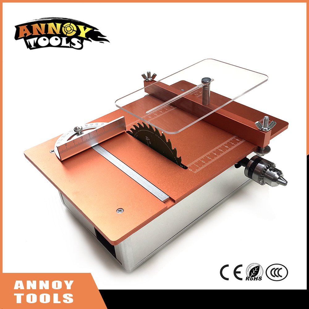 Mini Table Saw Handmade Woodworking Bench Saw DIY Hobby Model Crafts Cutting Tool with two motor , Power Supply mini hobby table saw woodworking bench saw diy handmade model crafts cutting tool with power supply hss 60mm circular saw blade